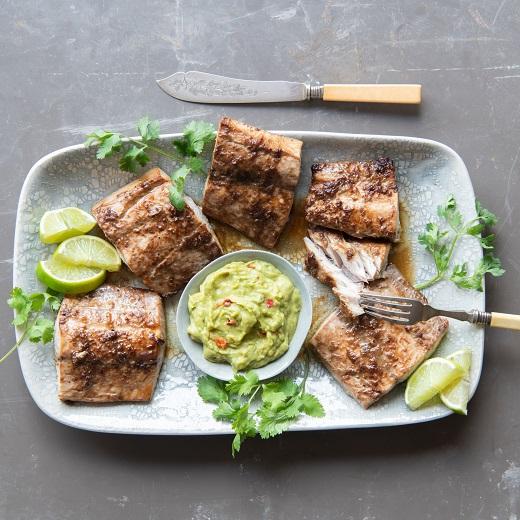 Asian fish and guacamole
