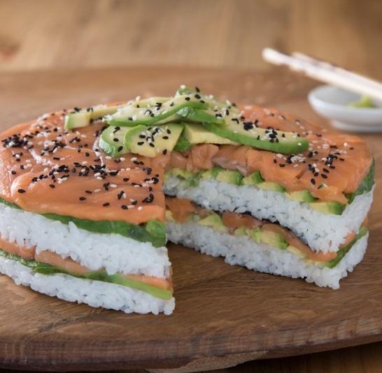 Avocado sushi cake