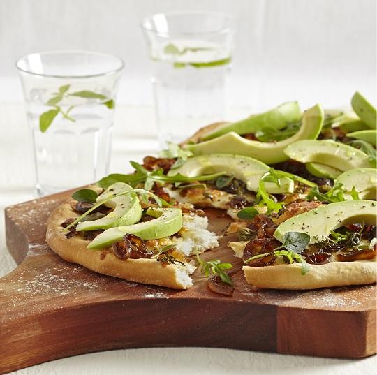 Herb and avo onion flatbread