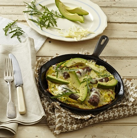 Pan omelette with avocado
