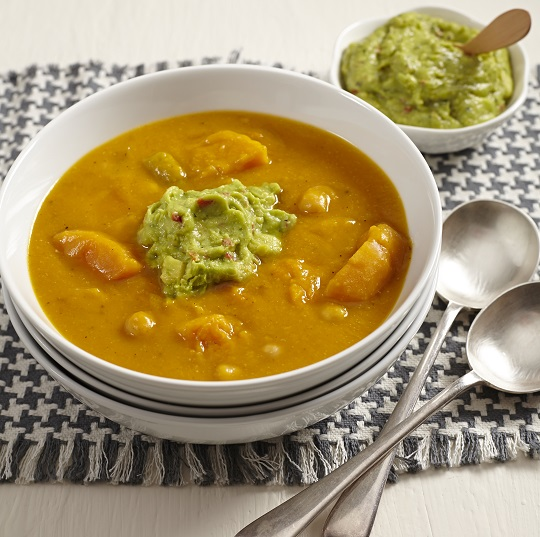 Spicy butternut soup with guacamole