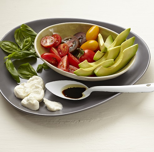 Tomato and basil salad with avo