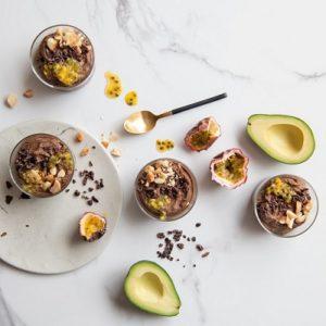 Westfalia Avocado and chocolate dessert with granadilla
